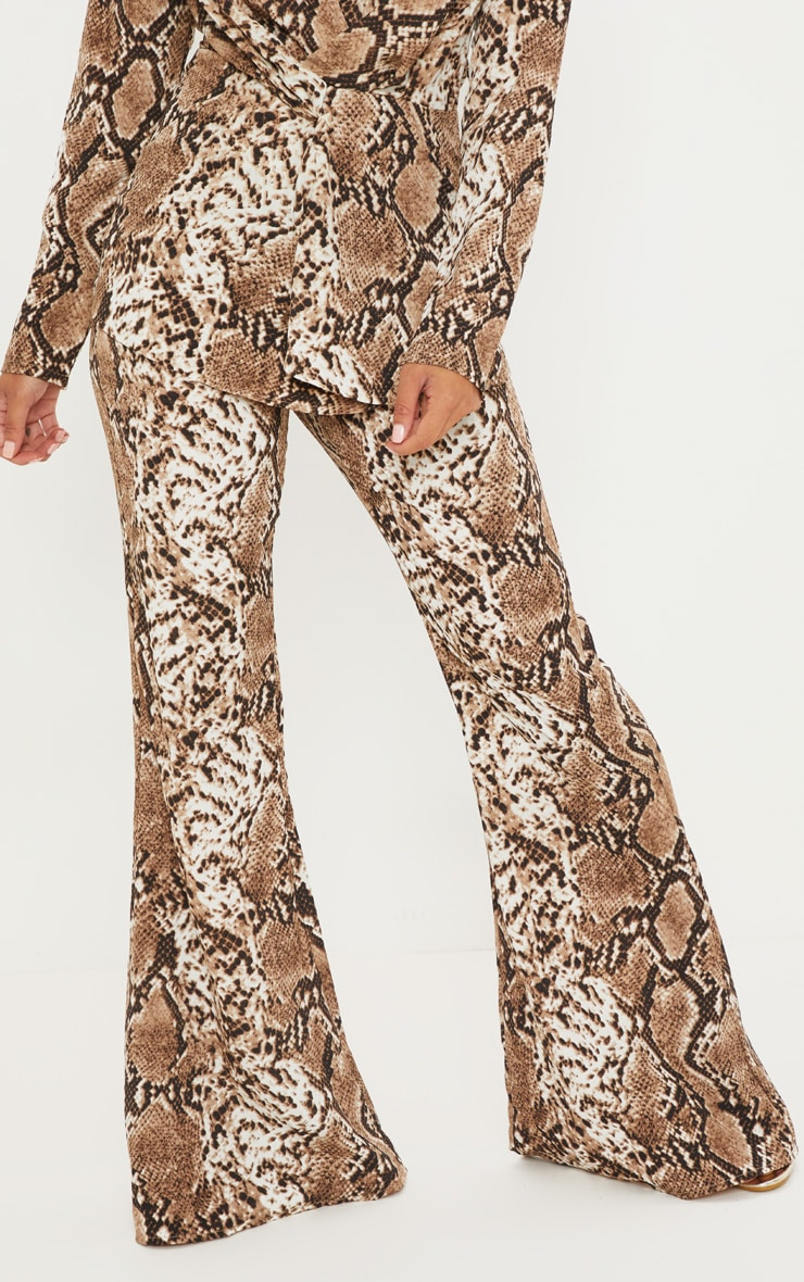 Petite Taupe Snake Print Flared Trousers 2