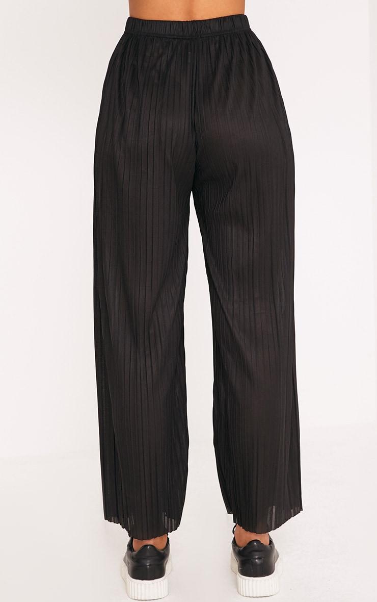 Loredana Black Soft Pleated Sheer Cropped Trousers 4