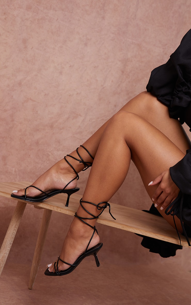 Black Strappy Lace Up Low Heel Sandals 1