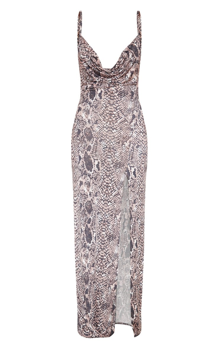 Taupe Snake Print Cowl Maxi Dress 3