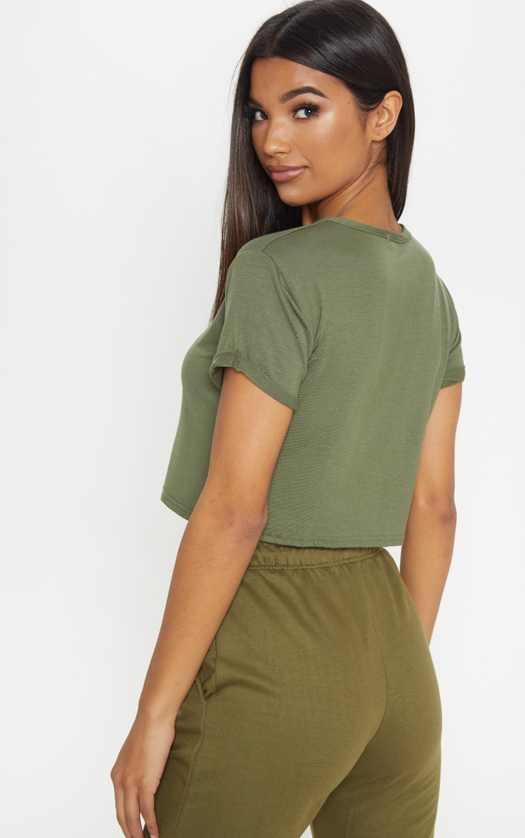 Basic Khaki Roll Sleeve Crop T Shirt 2