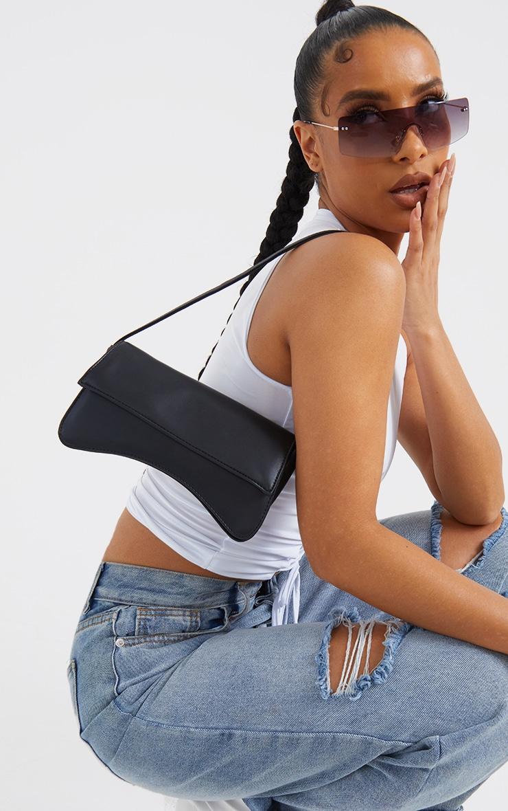Black PU Flap Over Baguette Shoulder Bag 1