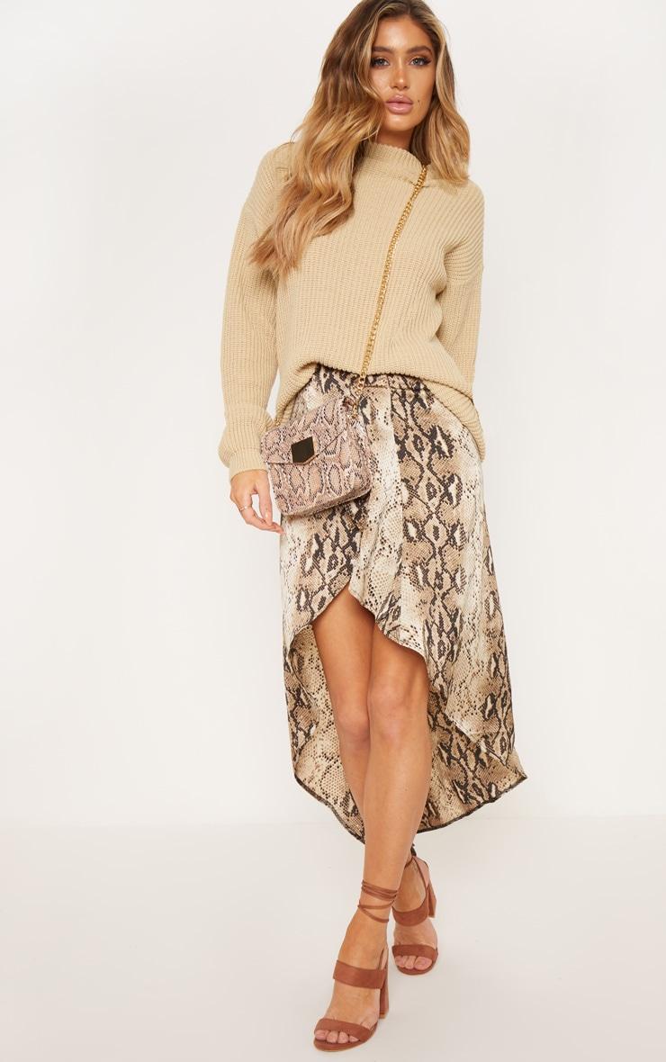 Snake Print Satin Asymmetric Skirt 1