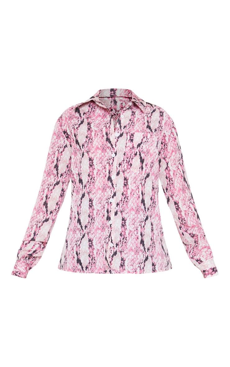 Petite Pink Snake Print Oversized Pocket Detail Shirt  3