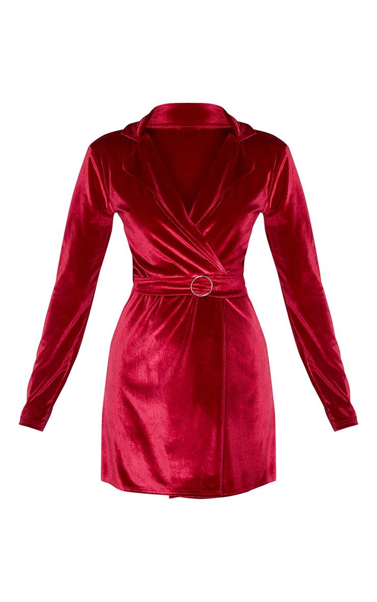 Burgundy Velvet Ring Belt Blazer Style Bodycon Dress 3