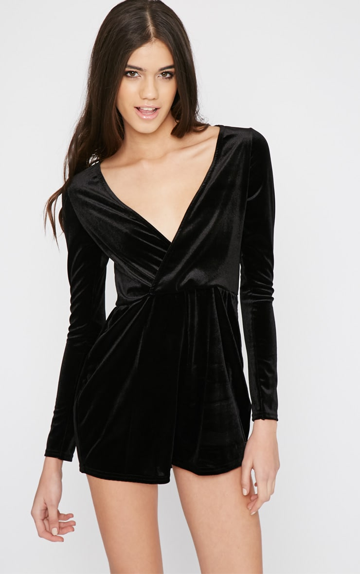 Nancy Black Velvet Wrap Over Playsuit  1