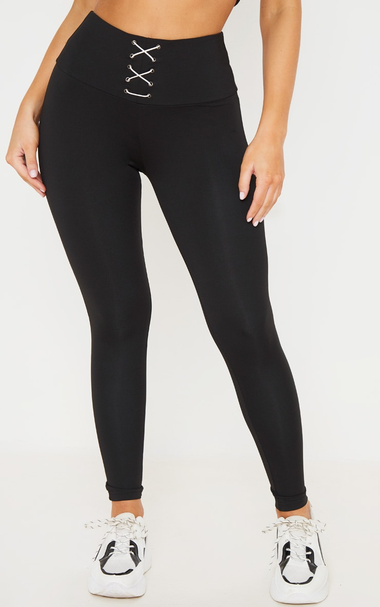 Black Corset Detail Leggings 2