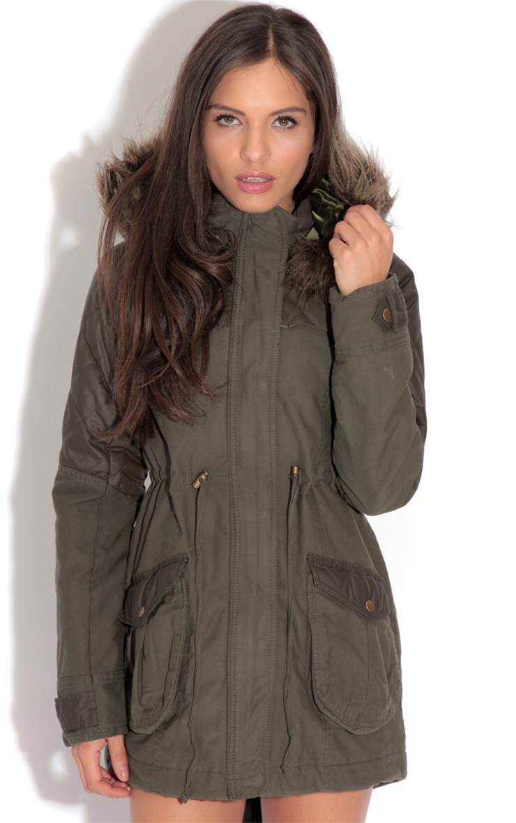 Cynthia Khaki Parka Coat 1