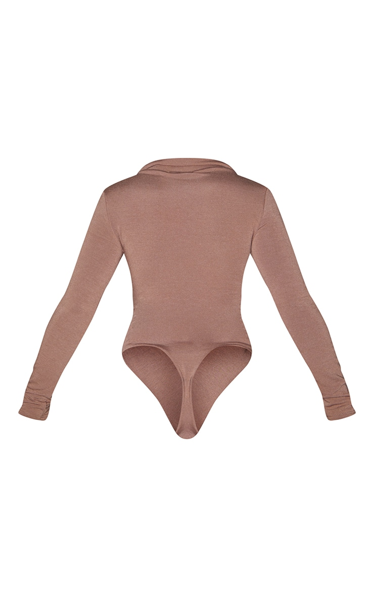 Recycled Chocolate Contour Jersey Ruched Front Long Sleeve Bodysuit 6