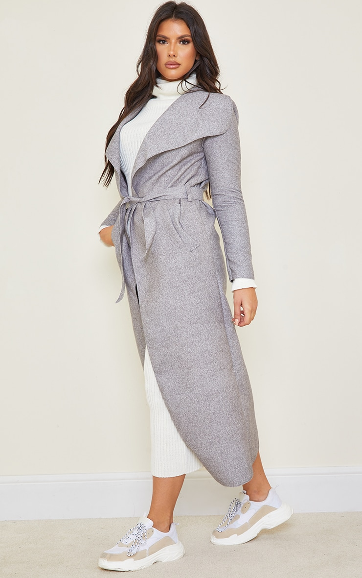 Tall Grey Maxi Length Oversized Waterfall Belted Coat 3