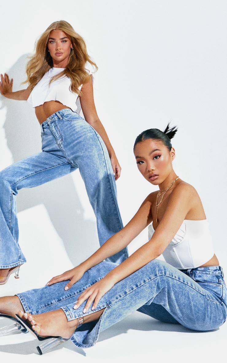 Petite Mid Blue Wash Split Hem Jeans 5