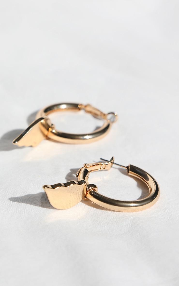 Gold Broken Heart Hoop Earrings 1