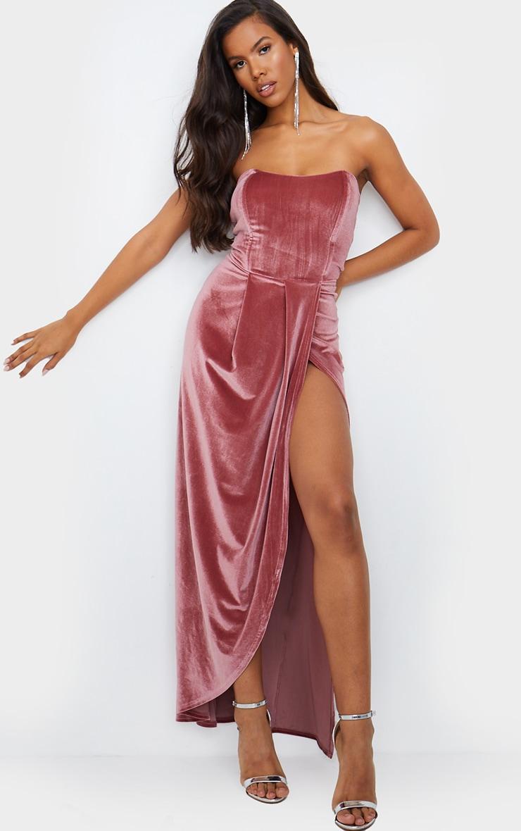 Dusty Pink Boning Detail Velvet Bandeau Maxi Dress 1
