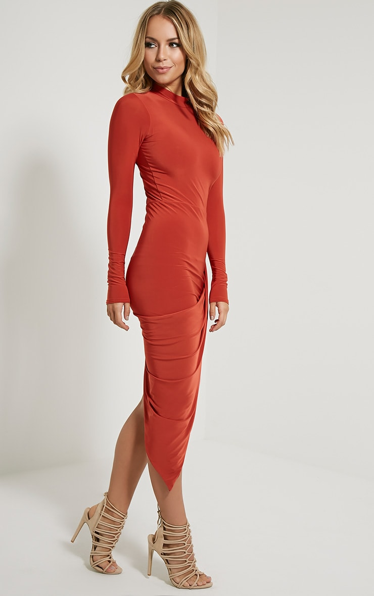Saffy Rust Long Sleeve Drape Dress 3