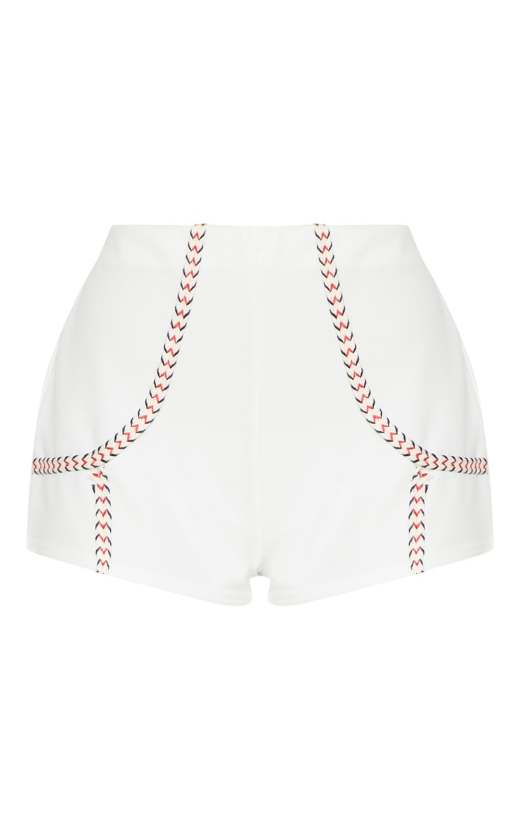White Herringbone Tape Detail Short 3
