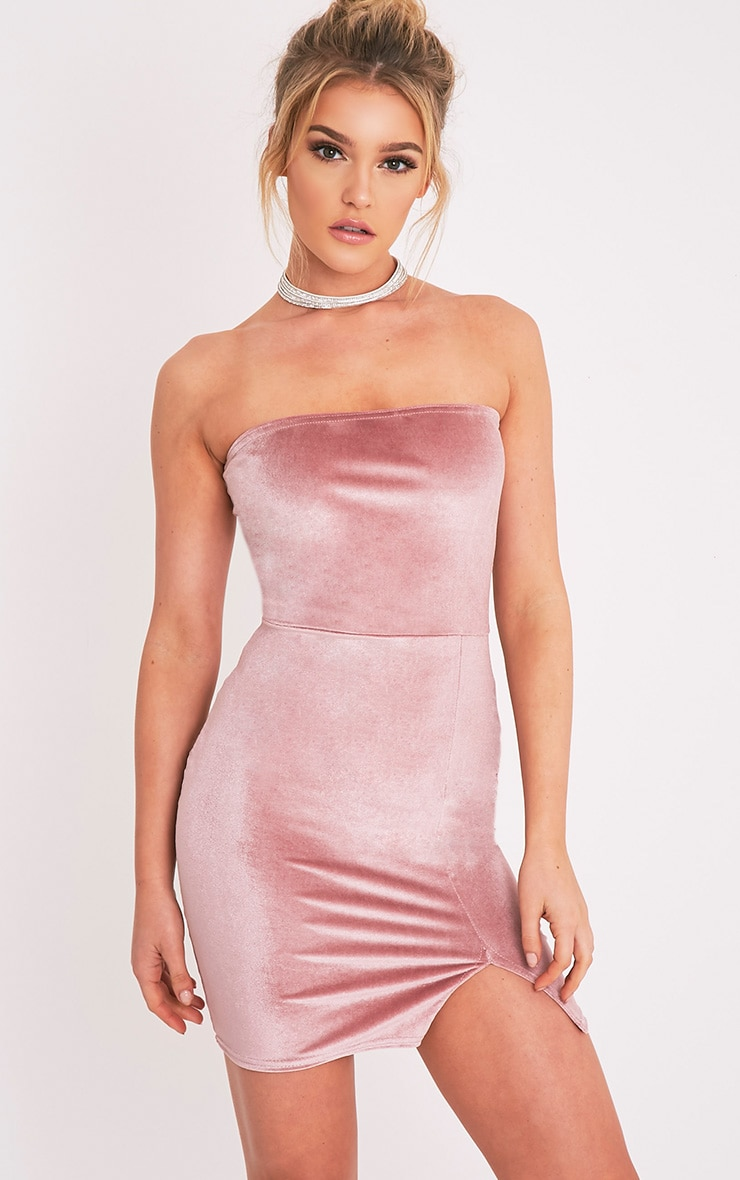 Layala Dusty Pink Velvet Split Detail Bandeau Dress 1