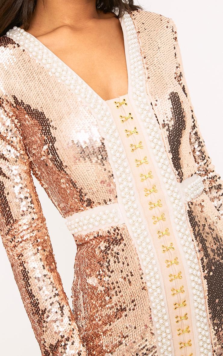 Valencia Rose Gold Premium Embellished Sequin Bodycon Dress 5