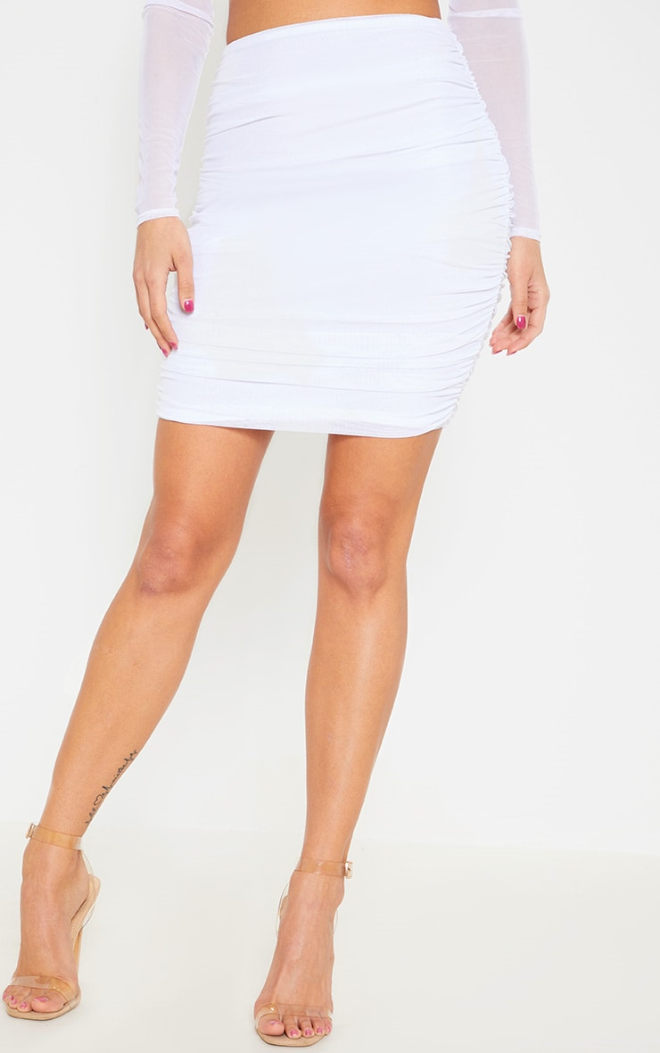 White Mesh Ruched Skirt 3