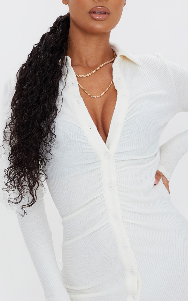 Cream Brushed Rib Long Sleeve Ruched Shirt Dress 4