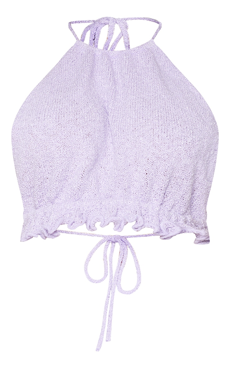 Lilac Ruched Halter Neck Tie Back  Knit Top 5