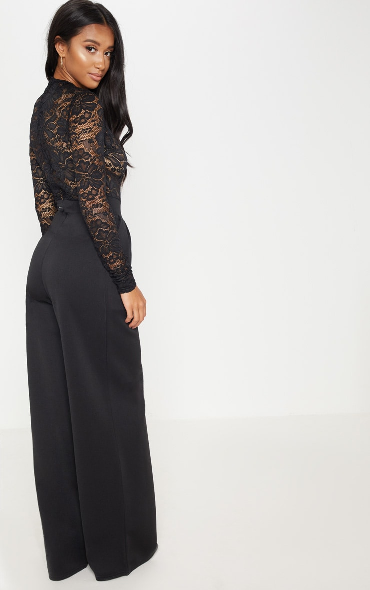 Petite Black Lace High Neck Long Sleeve Jumpsuit 2