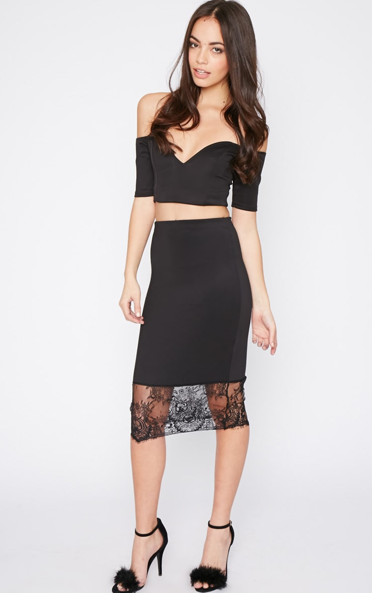 Salina Black Lace Trim Midi Skirt 1