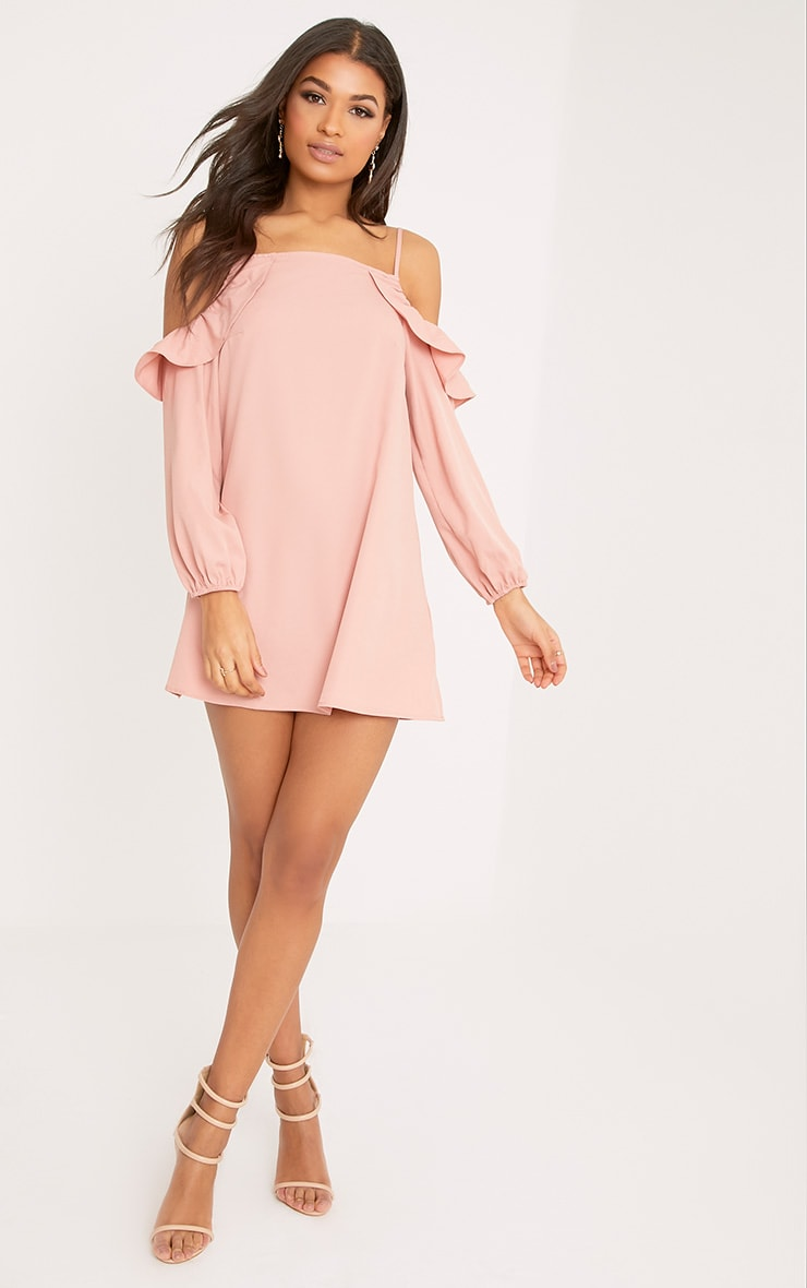 Felicia Dusty Pink Cold Shoulder Frill Detail Swing Dress 4