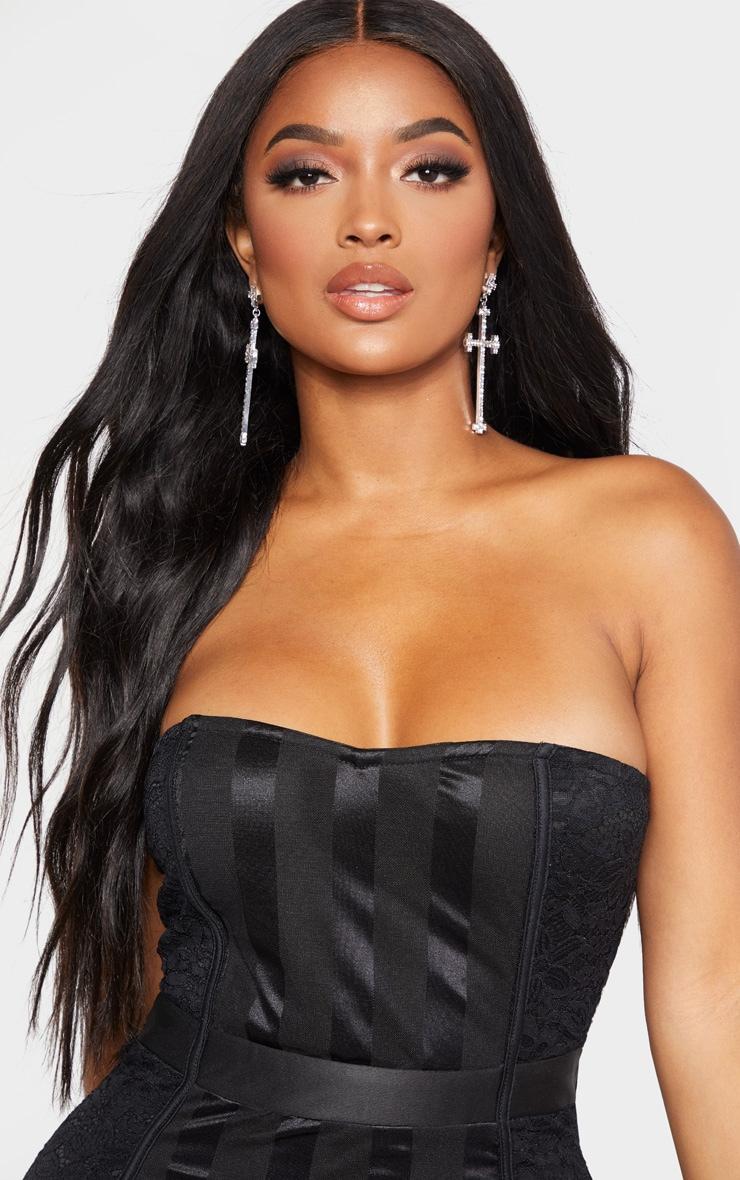 Shape Black Lace Mesh Stripe Bandeau Midi Dress 5