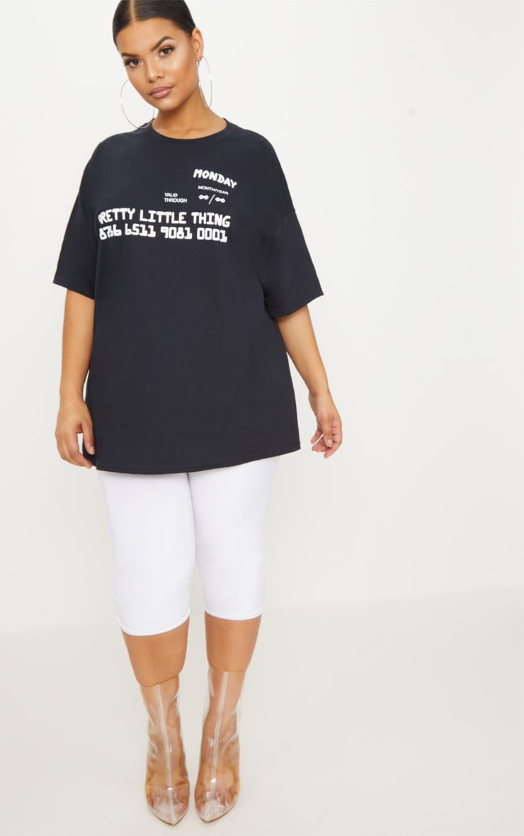 PRETTYLITTLETHING Plus Black Slogan Oversized T Shirt 4
