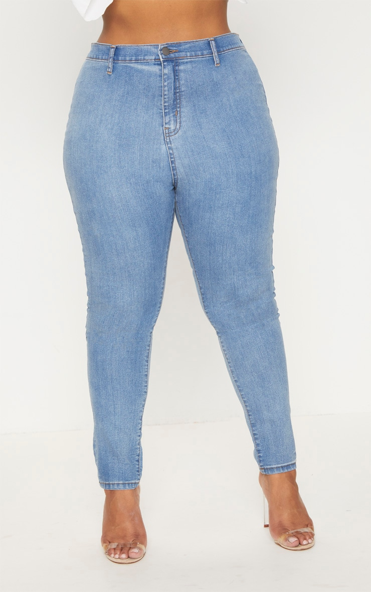 Plus Light Wash High Waisted Skinny Jeans 6