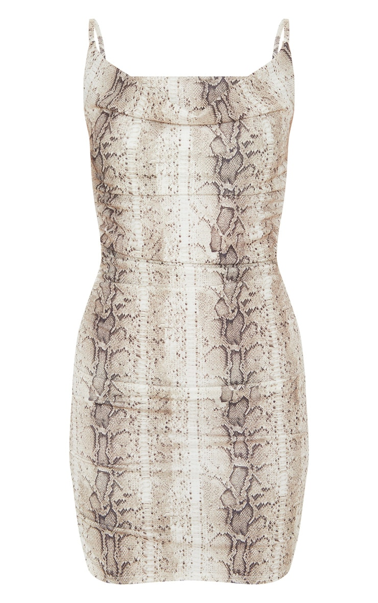 Nude Snake Print Strappy Ruched Bodycon Dress 3