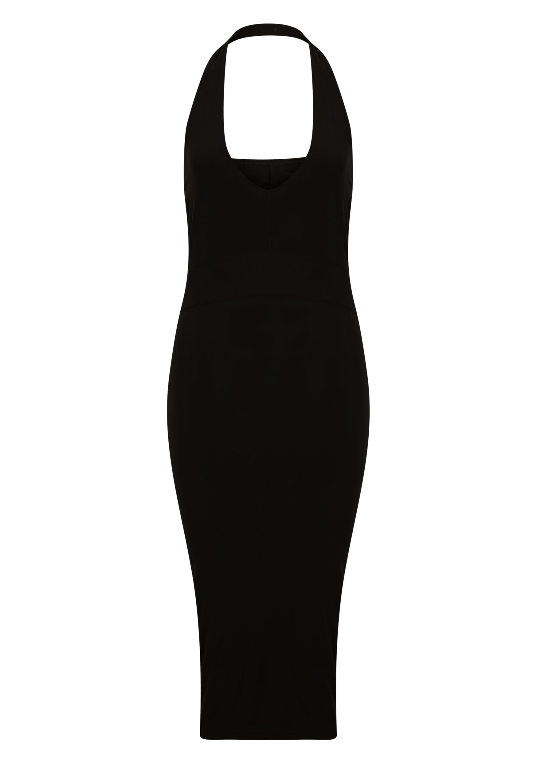 Lilly Black Slinky Halterneck Midi Dress 5