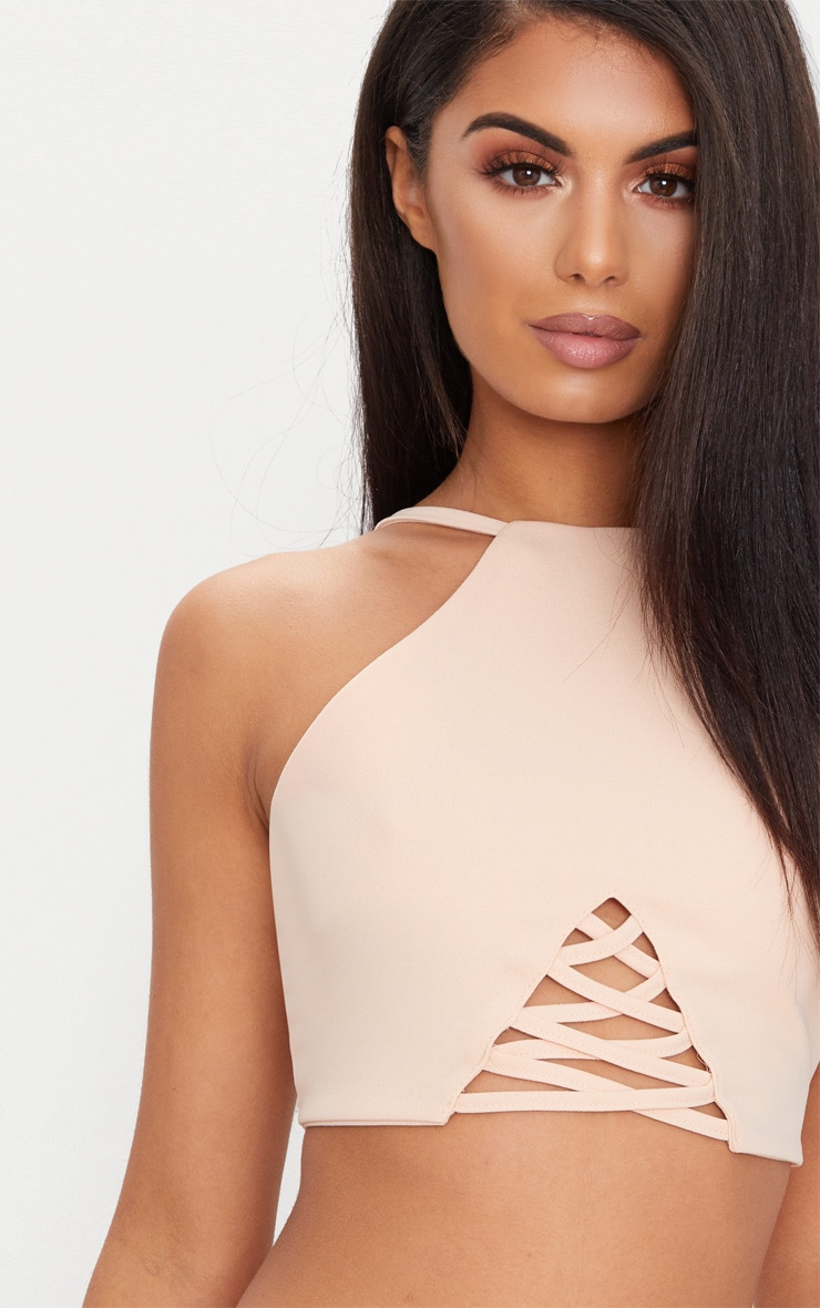 Nude Crepe Lace Up Detail High Neck Crop Top 5