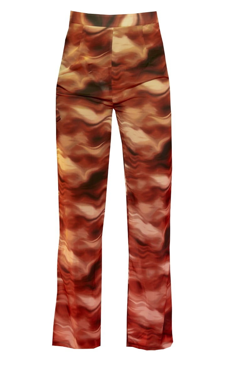 Brown Abstract Wave Print Beach Trousers 5