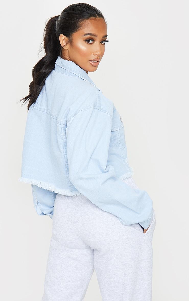 Petite Bleach Raw Hem Cropped Denim Jacket 2