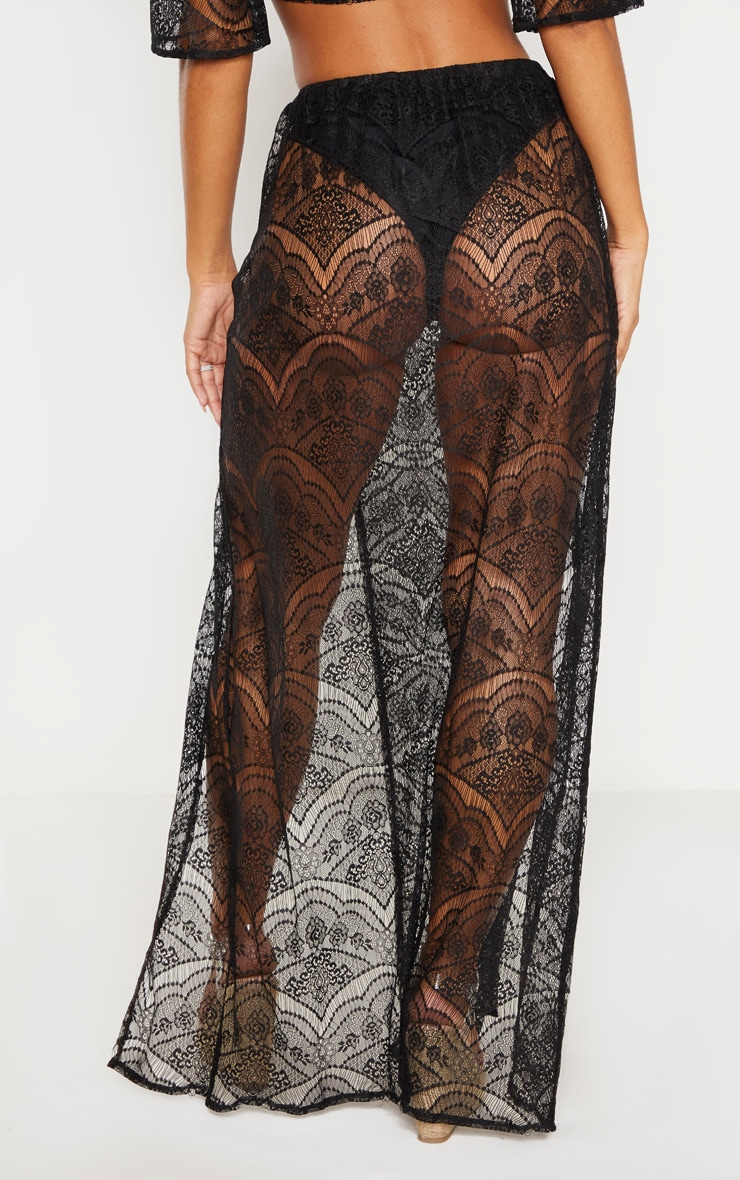 Black Lace Split Maxi Beach Skirt 4