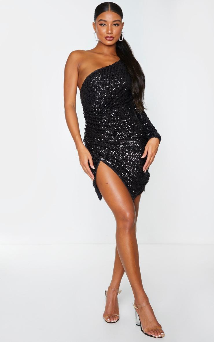 Black Sequin One Shoulder Wrap Skirt Bodycon Dress 3