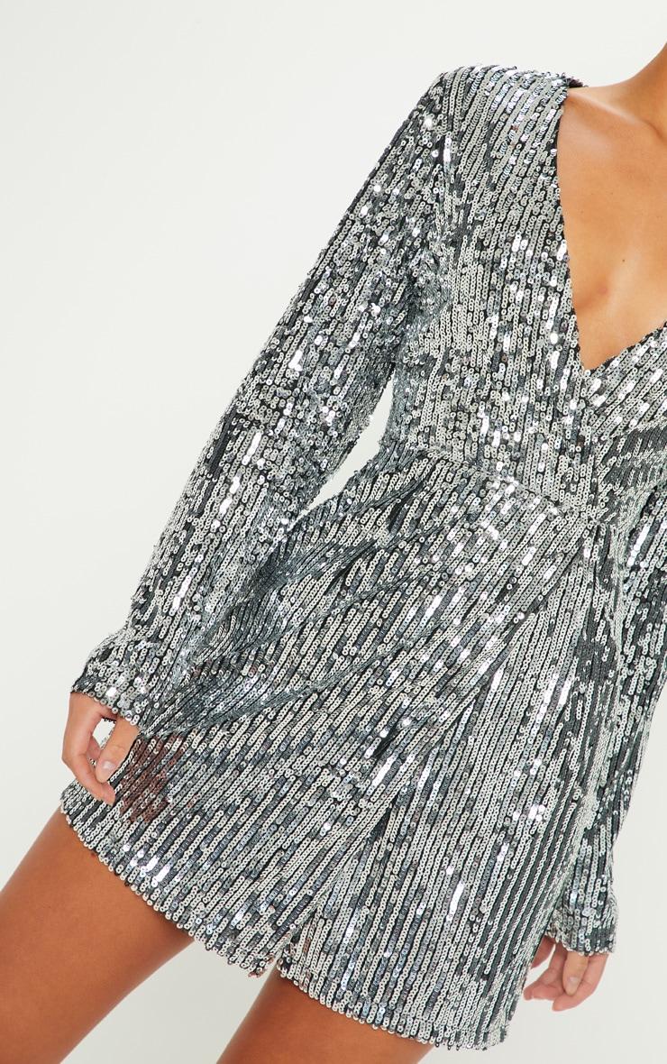 defa7ef5 Silver Sequin Plunge Wrap Dress | Dresses | PrettyLittleThing