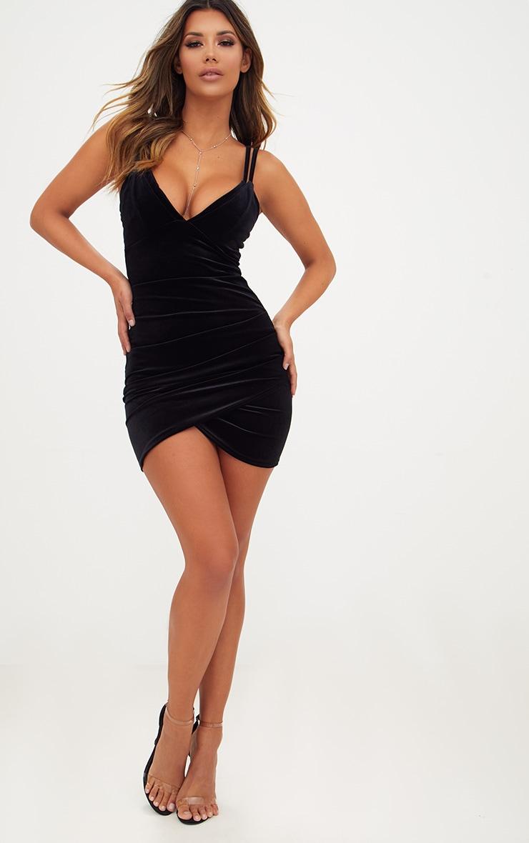Black Velvet Double Strap Ruched Bodycon Dress 4