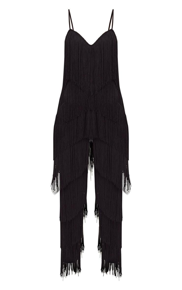 Black Tassel Plunge Jumpsuit 3
