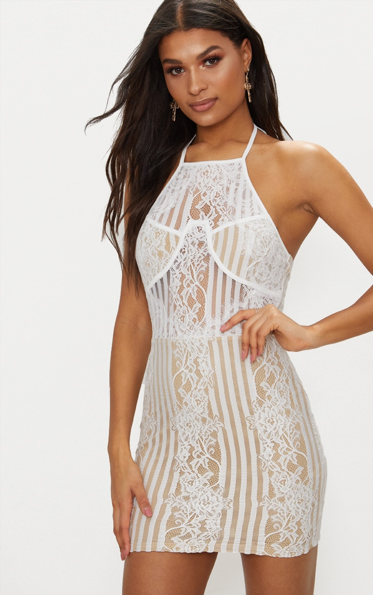 White Lace Halterneck Cup Detail Bodycon Dress Pretty Little Thing 0WWCH