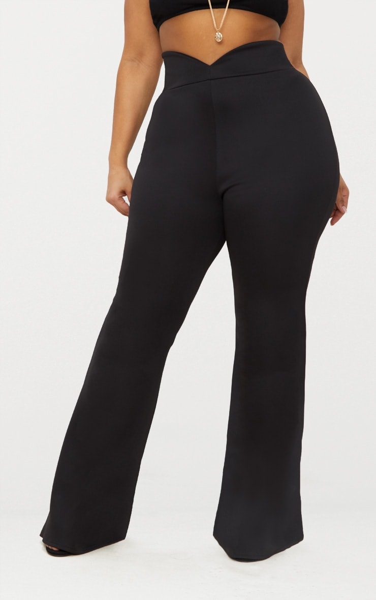 Plus Black Scuba Curve Waist Band Detail Flared Trousers  2
