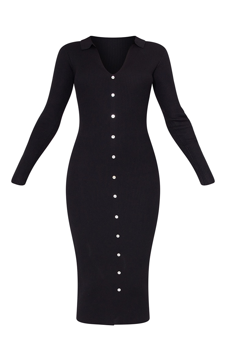 Black Button Down Collared Knitted Midi Dress 5