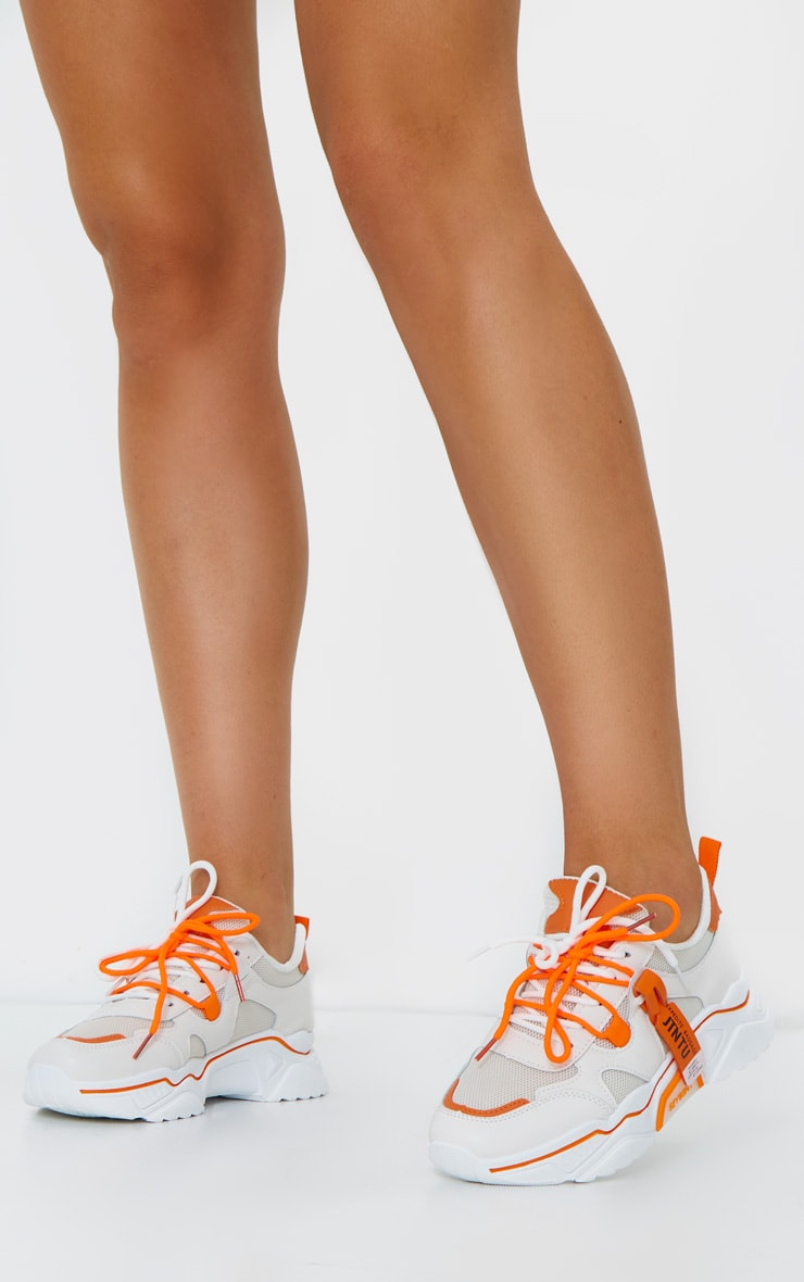 Orange Contrast Chunky Tag Back Trainers 1