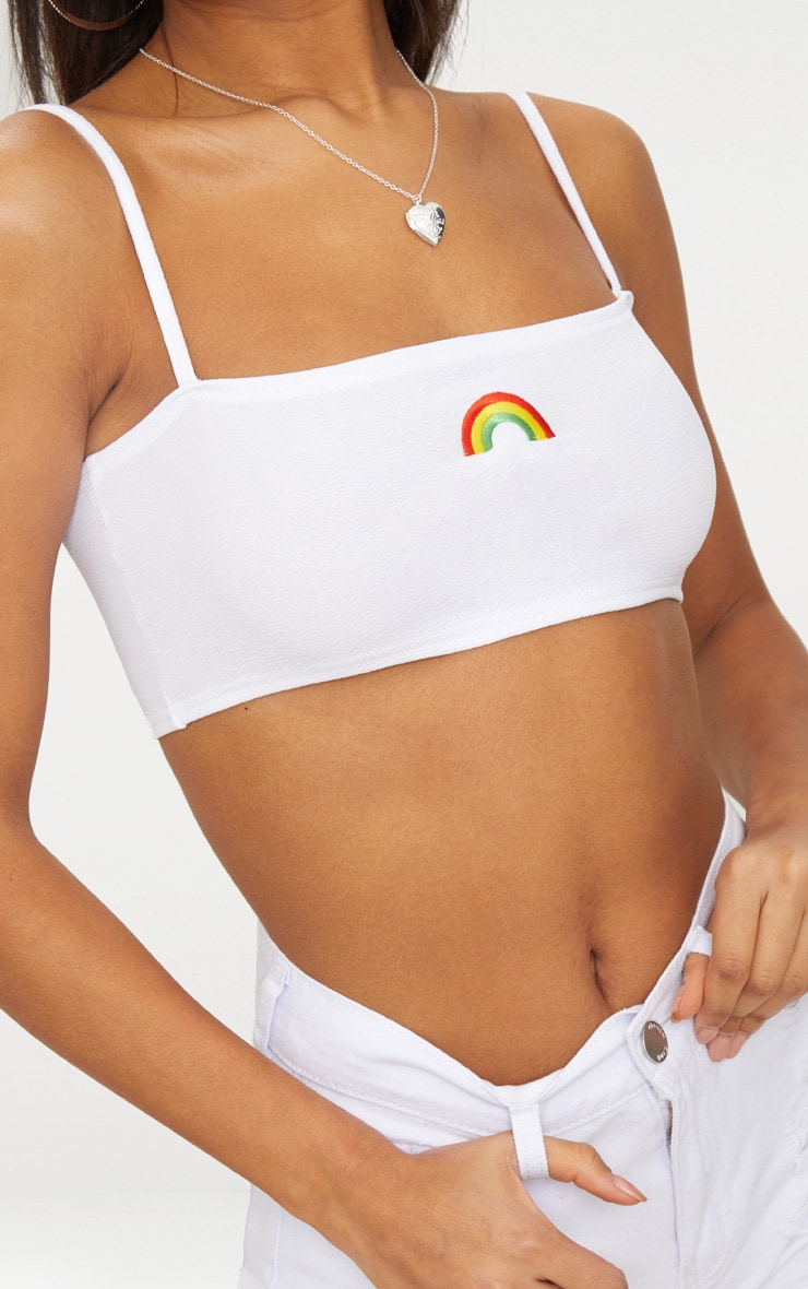 White Embroidered Rainbow Strappy Crop Top  5