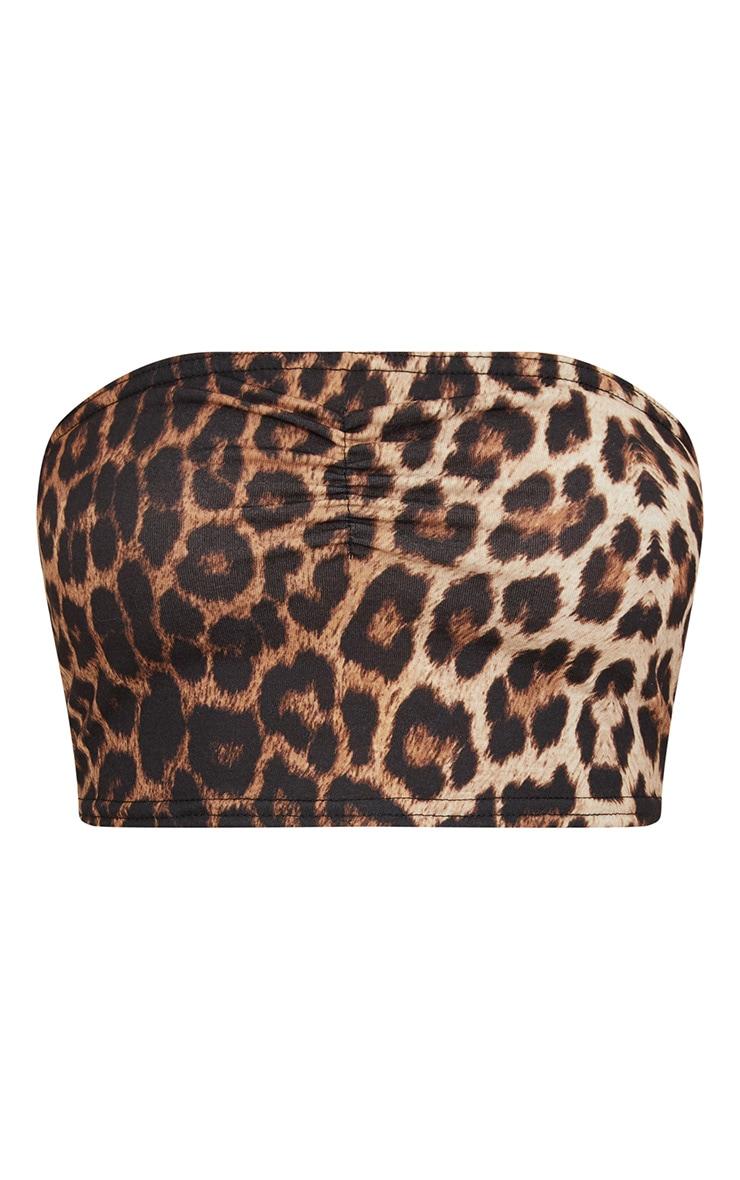 Tan Leopard Print Jersey Bandeau Crop Top 1