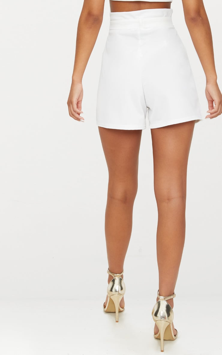 White High Waisted Tie Front Short  4