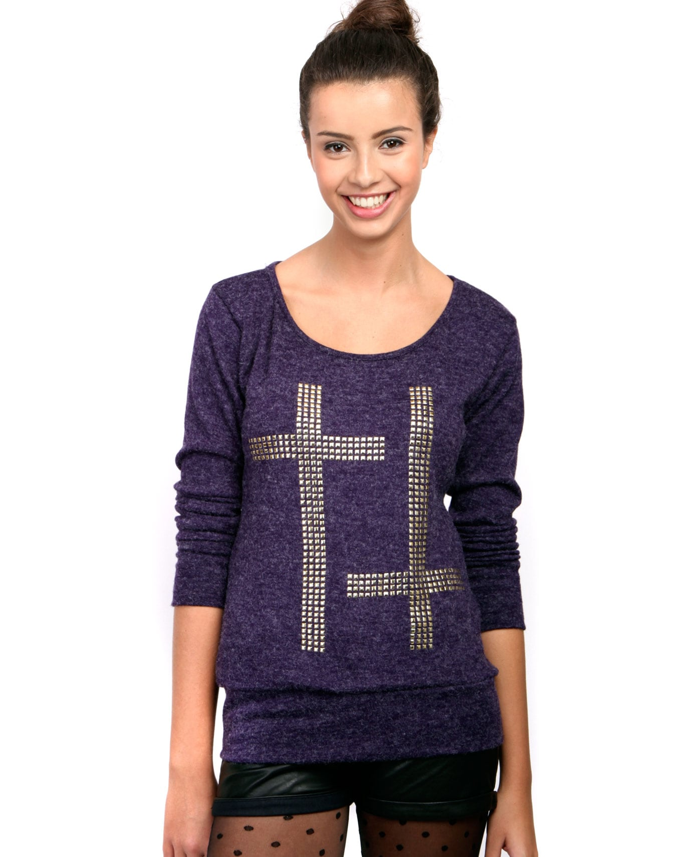 Purple Stud Cross Jumper  1