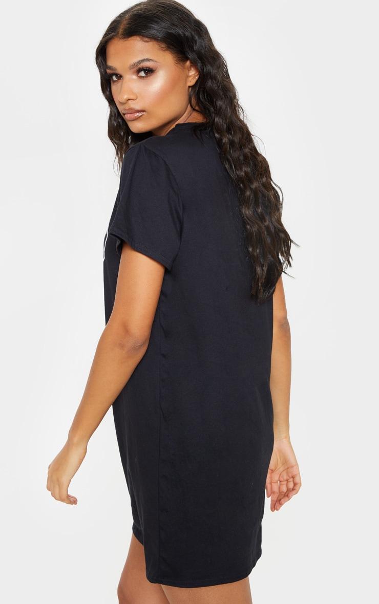 Black Skull Slogan Oversized T Shirt Dress 2