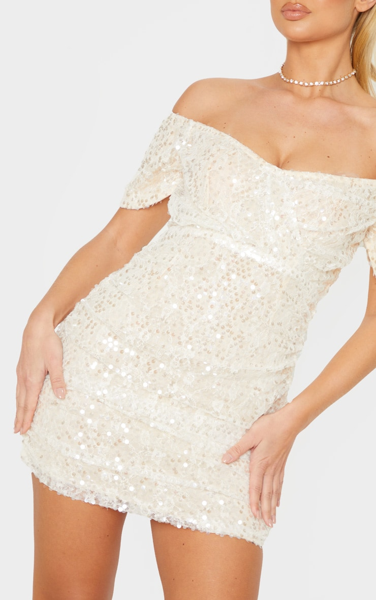 Nude Sequin Lace Detail Ruched Bardot Bodycon Dress 5